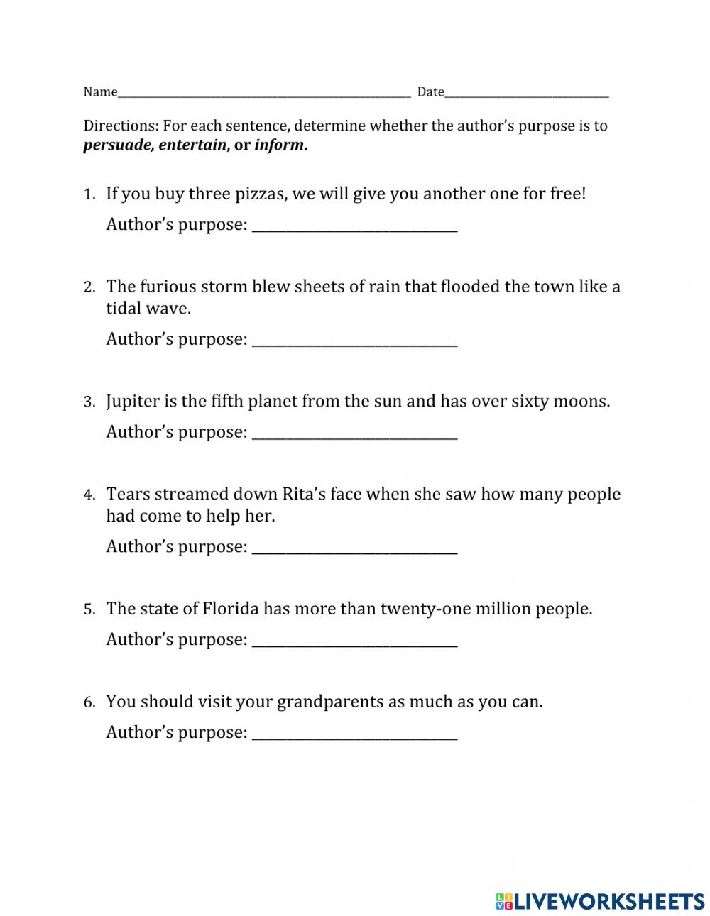hight resolution of Author's Purpose 1 worksheet