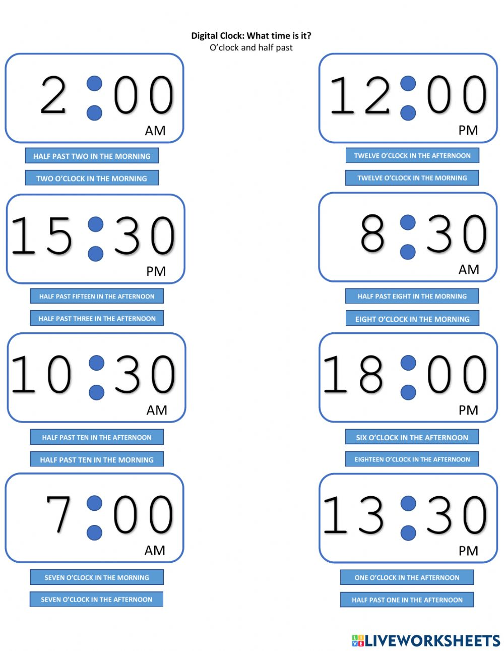 hight resolution of Digital Clocks: What time is it? worksheet