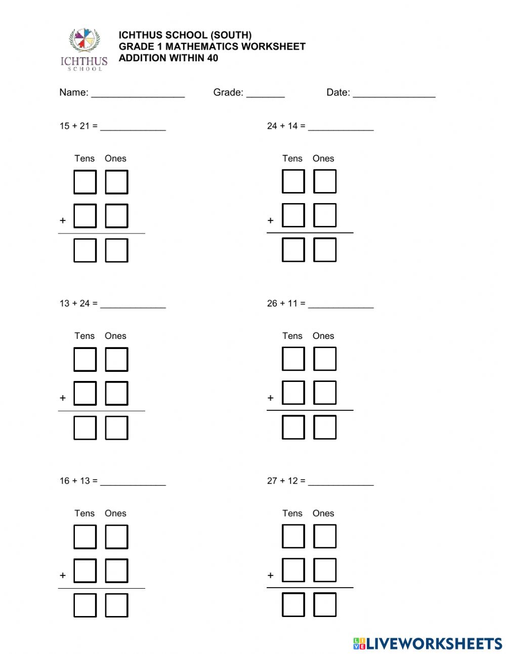 medium resolution of Grade 1 - Addition to 40 (With and without Regrouping) worksheet