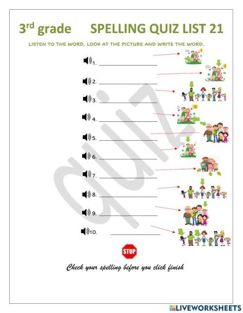 small resolution of Spelling QUIZ interactive worksheet for 3rd grade