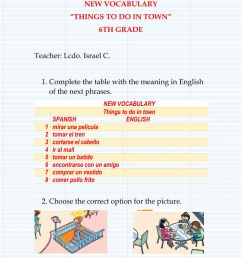 Vocabulary -Things to do in town - worksheet [ 1413 x 1000 Pixel ]