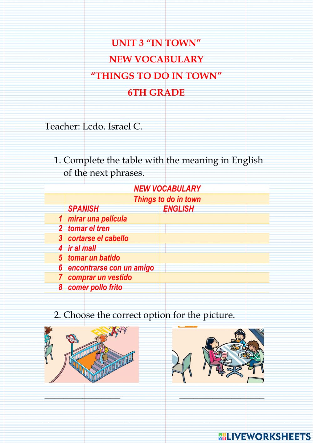 medium resolution of Vocabulary -Things to do in town - worksheet