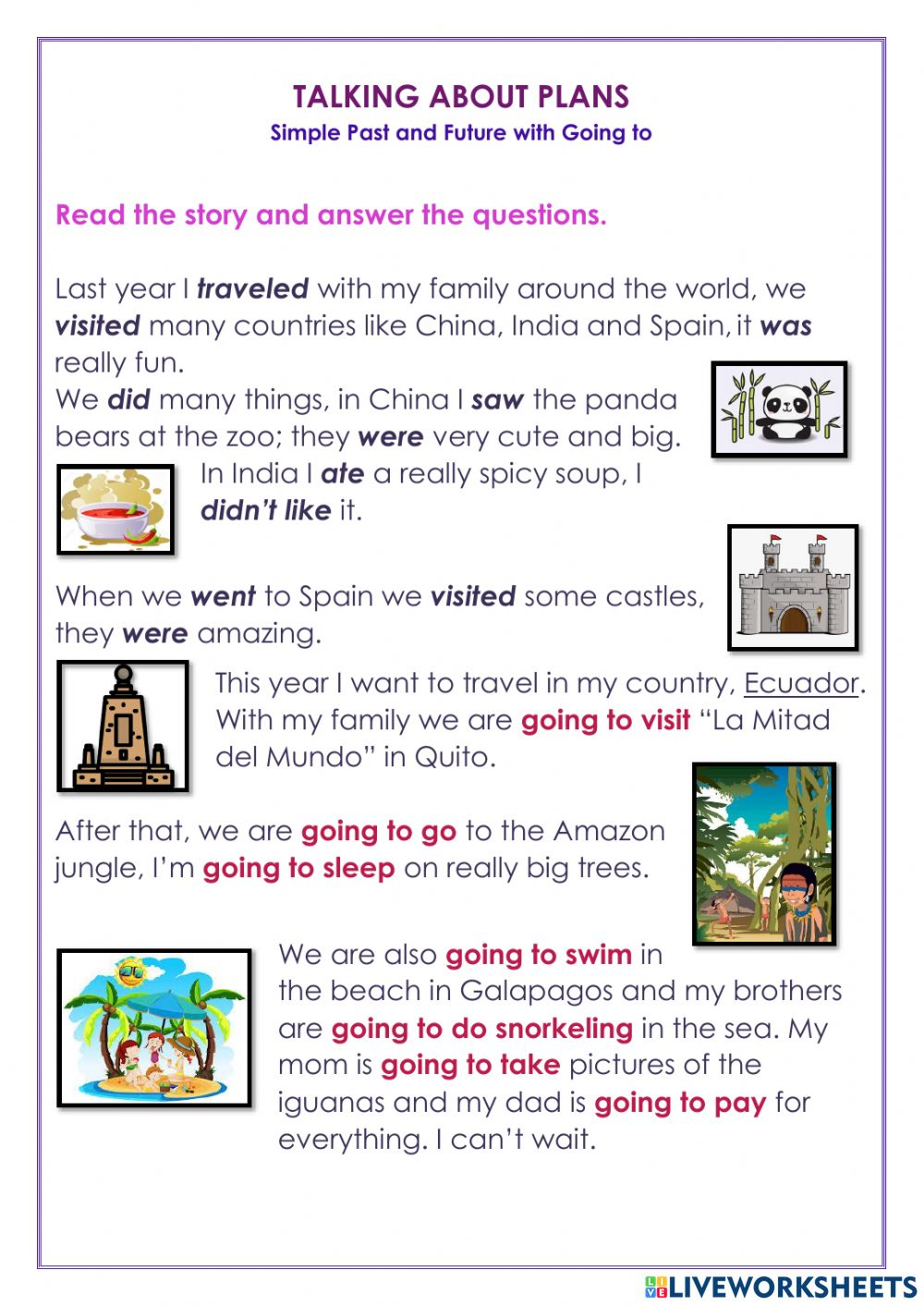 hight resolution of Read and answer interactive worksheet for 4th grade