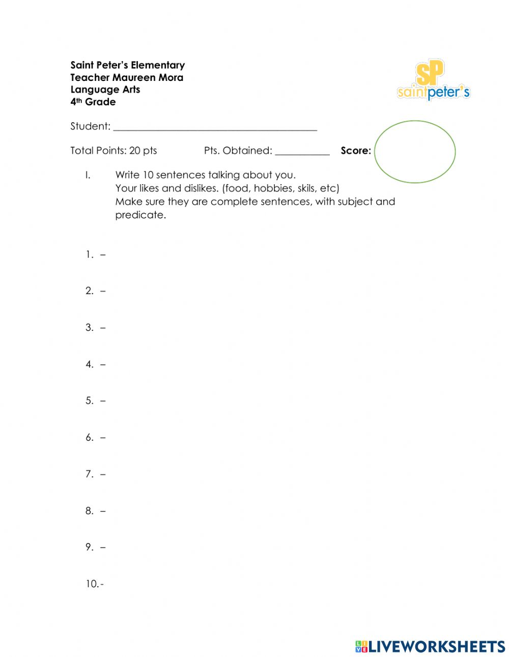 medium resolution of Subject Predicate worksheet