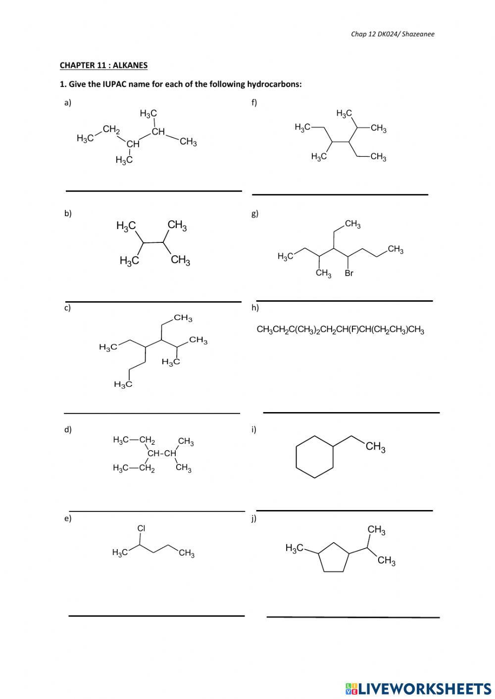 hight resolution of IUPAC Nomenclature of Alkanes-Part A worksheet