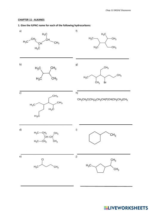 small resolution of IUPAC Nomenclature of Alkanes-Part A worksheet
