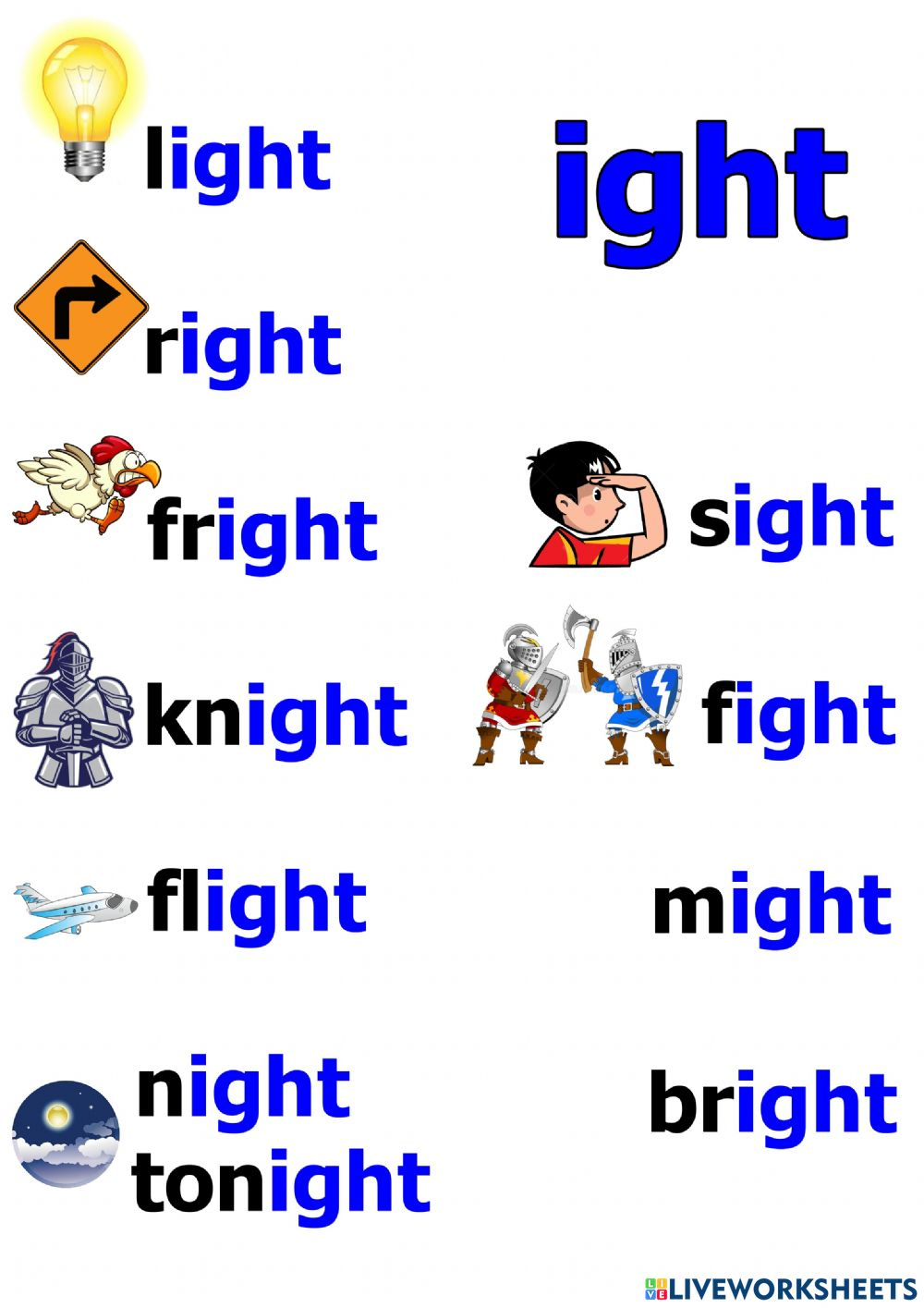 hight resolution of ight words worksheet