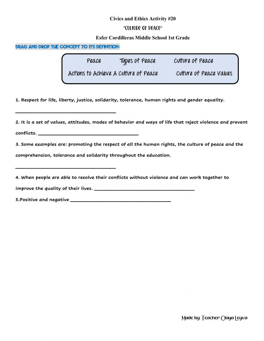 hight resolution of Culture of Peace worksheet