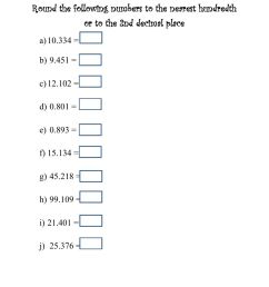Rounding decimals to the nearest hundredth or 2nd decimal place worksheet [ 1291 x 1000 Pixel ]