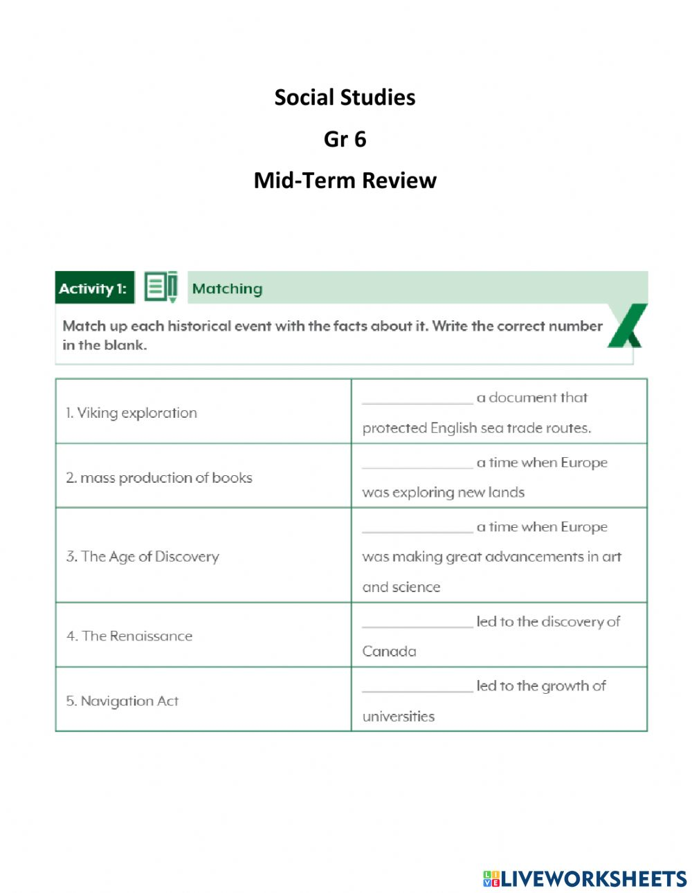 hight resolution of Mid-Term Review Gr 6 worksheet