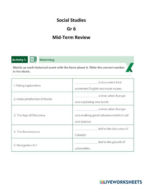 small resolution of Mid-Term Review Gr 6 worksheet