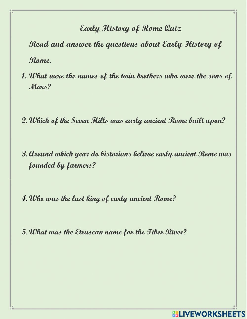 medium resolution of Early History of Ancient Rome worksheet