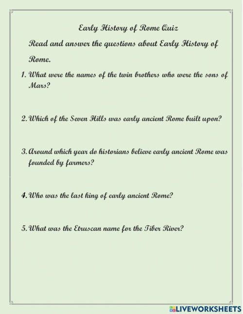 small resolution of Early History of Ancient Rome worksheet
