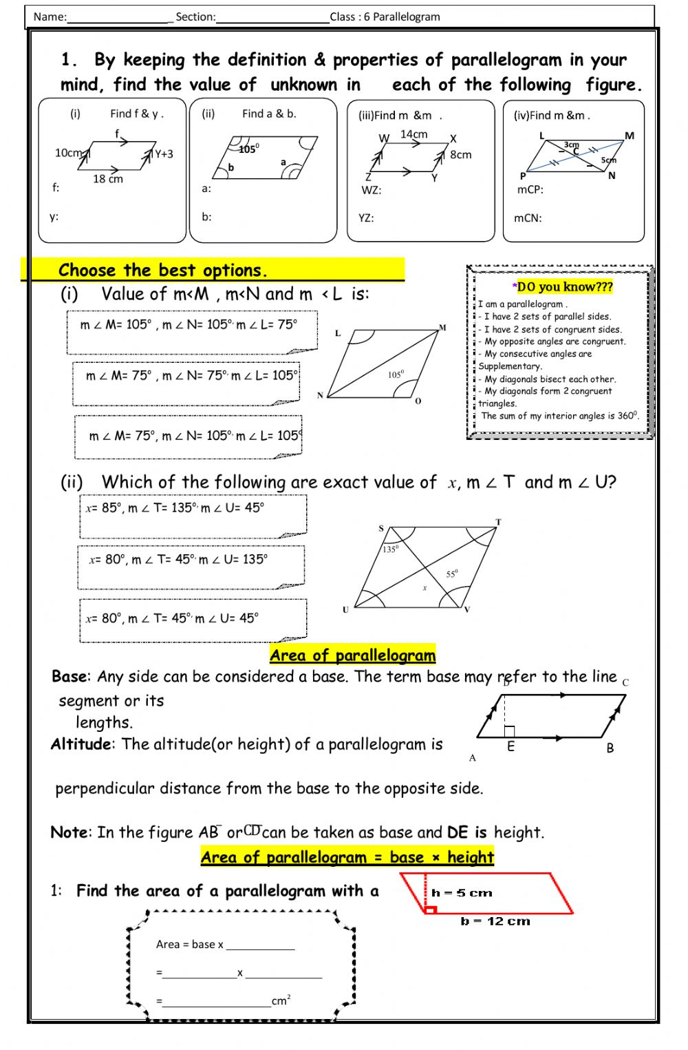hight resolution of Unknown dimensions of Parallelogram worksheet