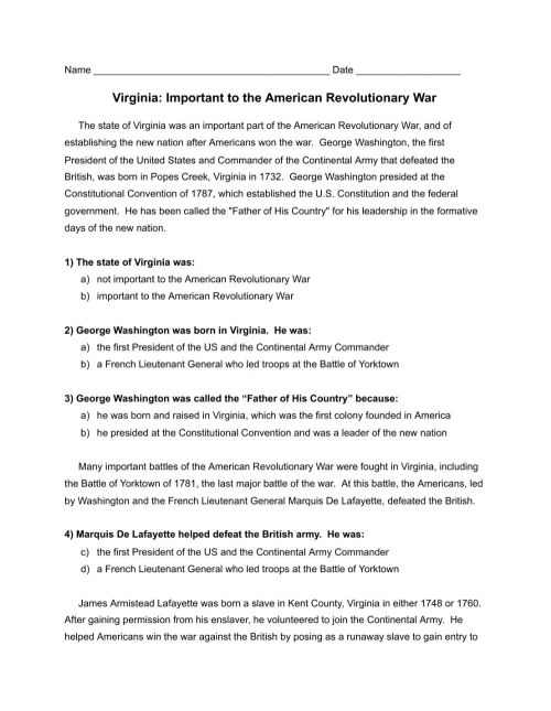 small resolution of Virginia: Important to the American Revolutionary War worksheet