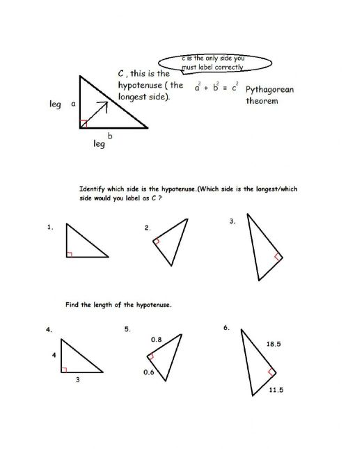 small resolution of Pythagorean Theorem Practice worksheet
