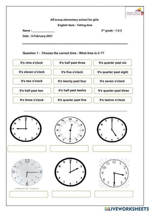 small resolution of Telling time quiz -3rd grade worksheet
