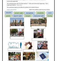 The ESOL Podcast 7 - ESOL and Community Organising - Part 1 - Exploring  Problems - Worksheet 2 worksheet [ 1413 x 1000 Pixel ]