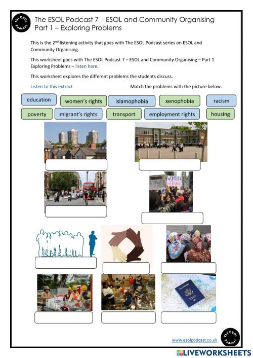 small resolution of The ESOL Podcast 7 - ESOL and Community Organising - Part 1 - Exploring  Problems - Worksheet 2 worksheet
