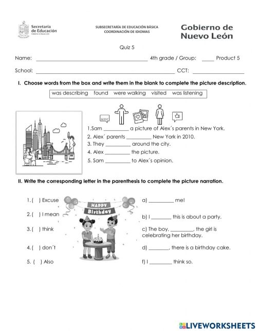 small resolution of Quizz 4th grade january worksheet
