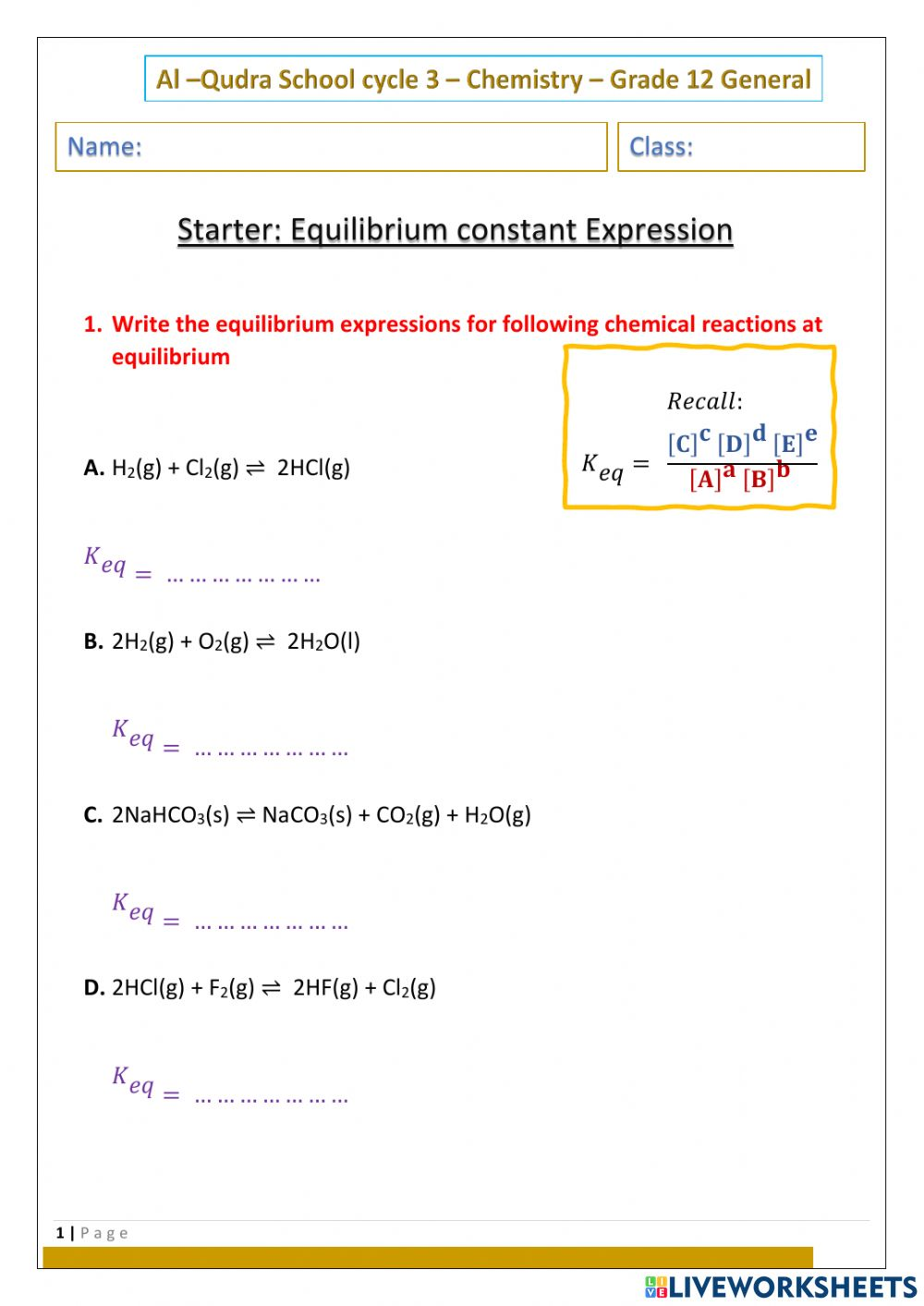 hight resolution of Equilibrium Constant Expression worksheet
