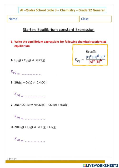 small resolution of Equilibrium Constant Expression worksheet