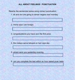 UNIT 1: ALL ABOUT FEELINGS(PUNCTUATION) worksheet [ 1291 x 1000 Pixel ]