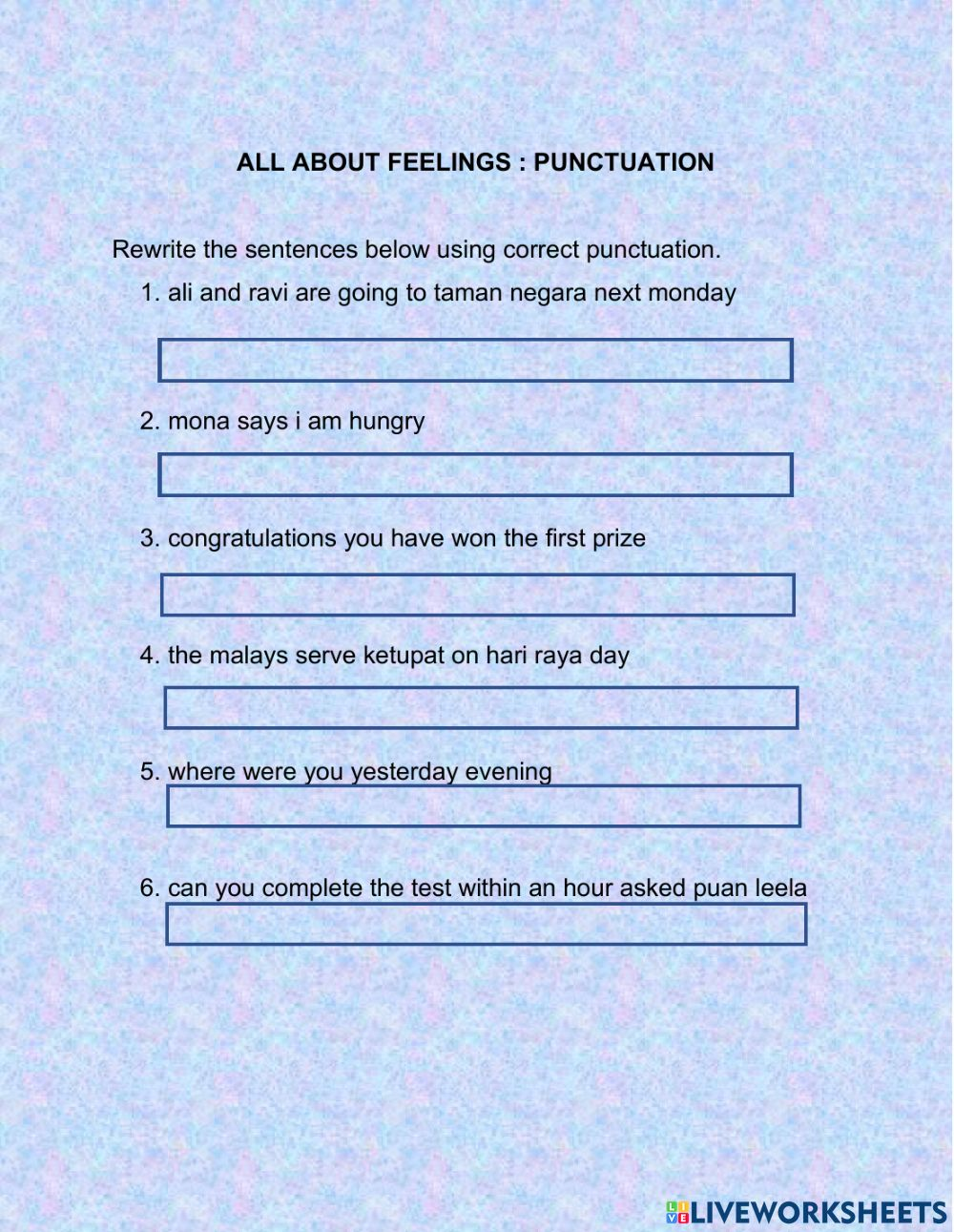 medium resolution of UNIT 1: ALL ABOUT FEELINGS(PUNCTUATION) worksheet