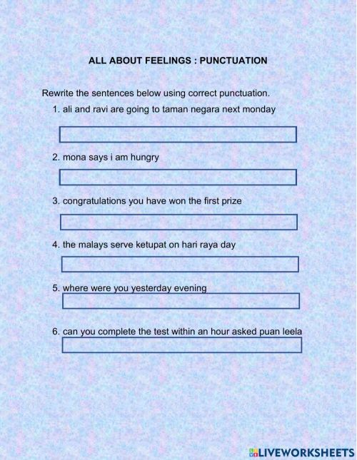 small resolution of UNIT 1: ALL ABOUT FEELINGS(PUNCTUATION) worksheet