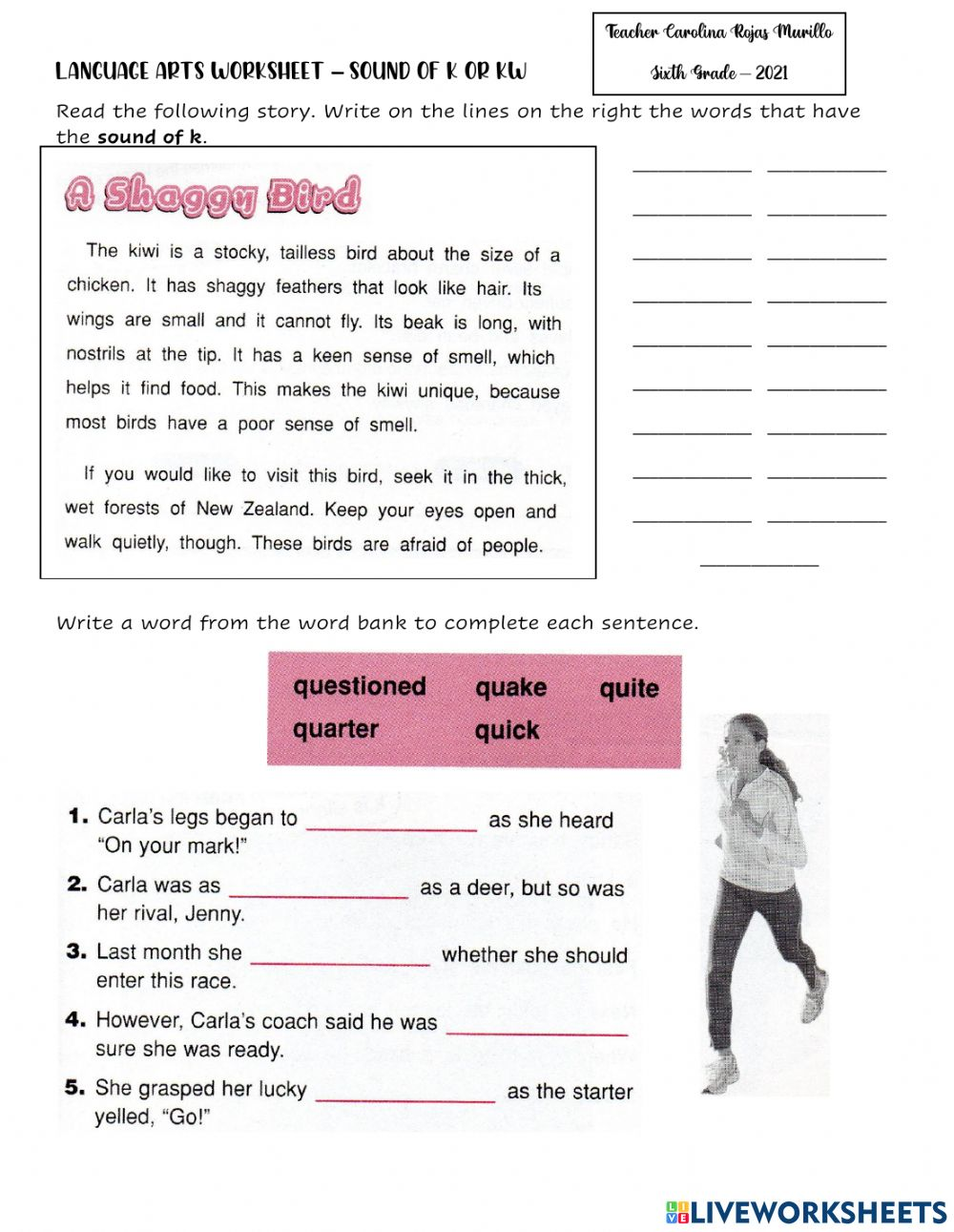 medium resolution of Sounds of -k- and -kw- worksheet