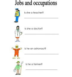 Jobs and occupations activity for First grade [ 1291 x 1000 Pixel ]