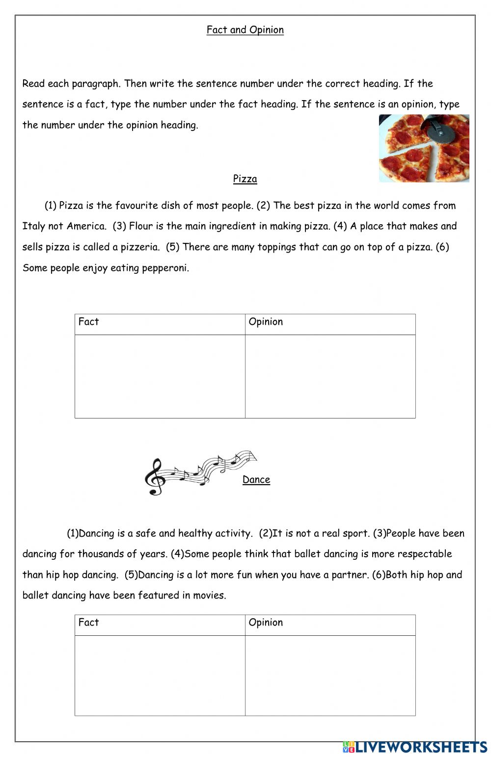 medium resolution of Fact and Opinion zsciencez worksheet