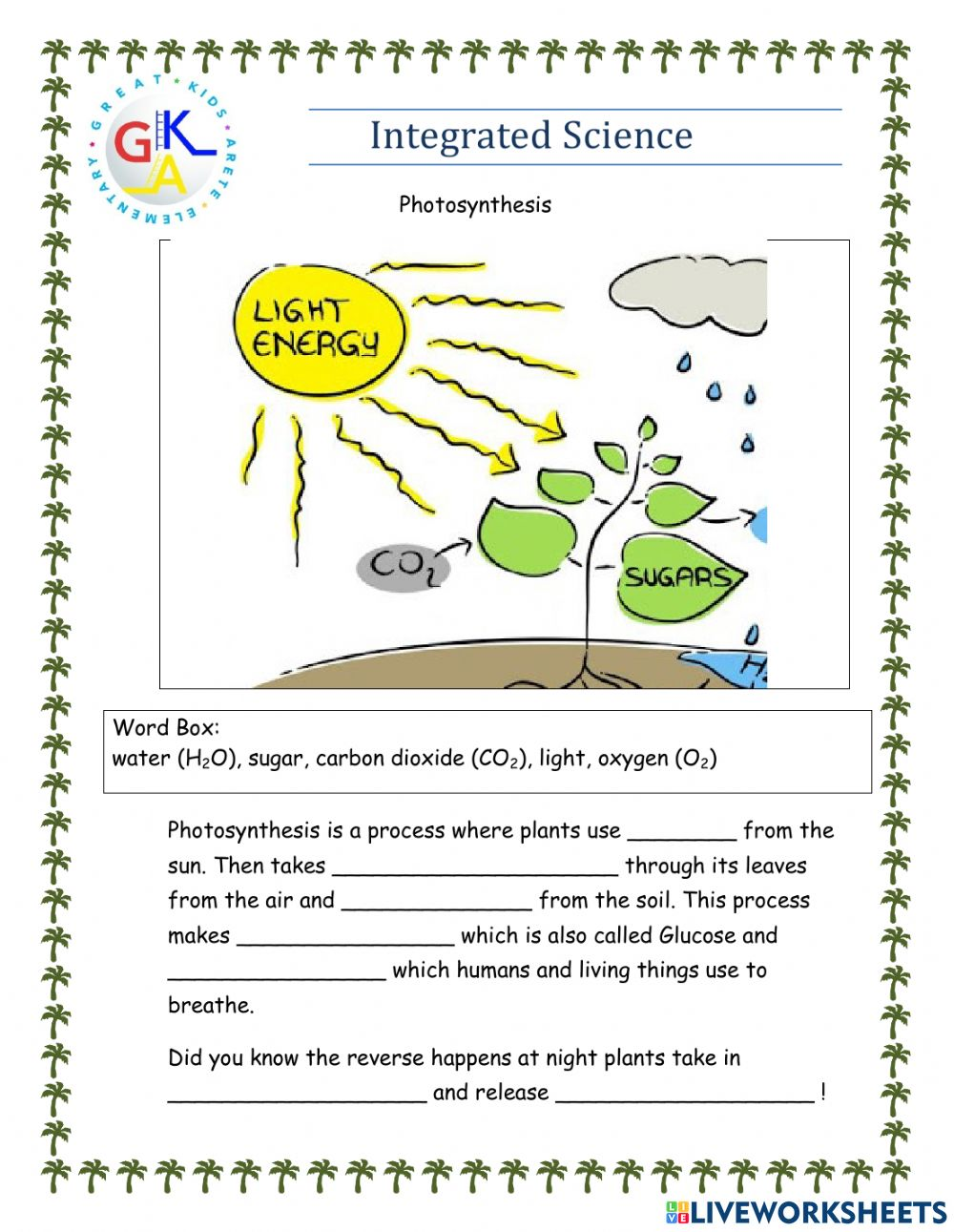 hight resolution of Photosynthesis interactive exercise for Grade 1
