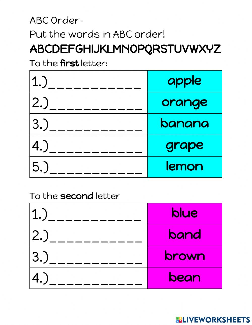 medium resolution of ABC Order Review worksheet