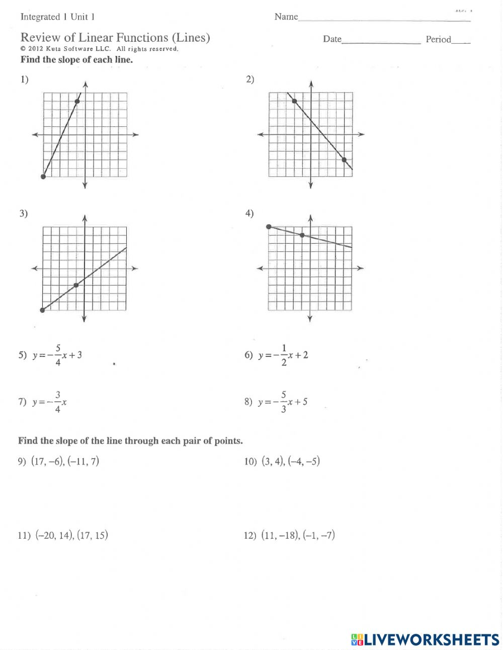 hight resolution of Linear Equations and Slope Quiz Review worksheet