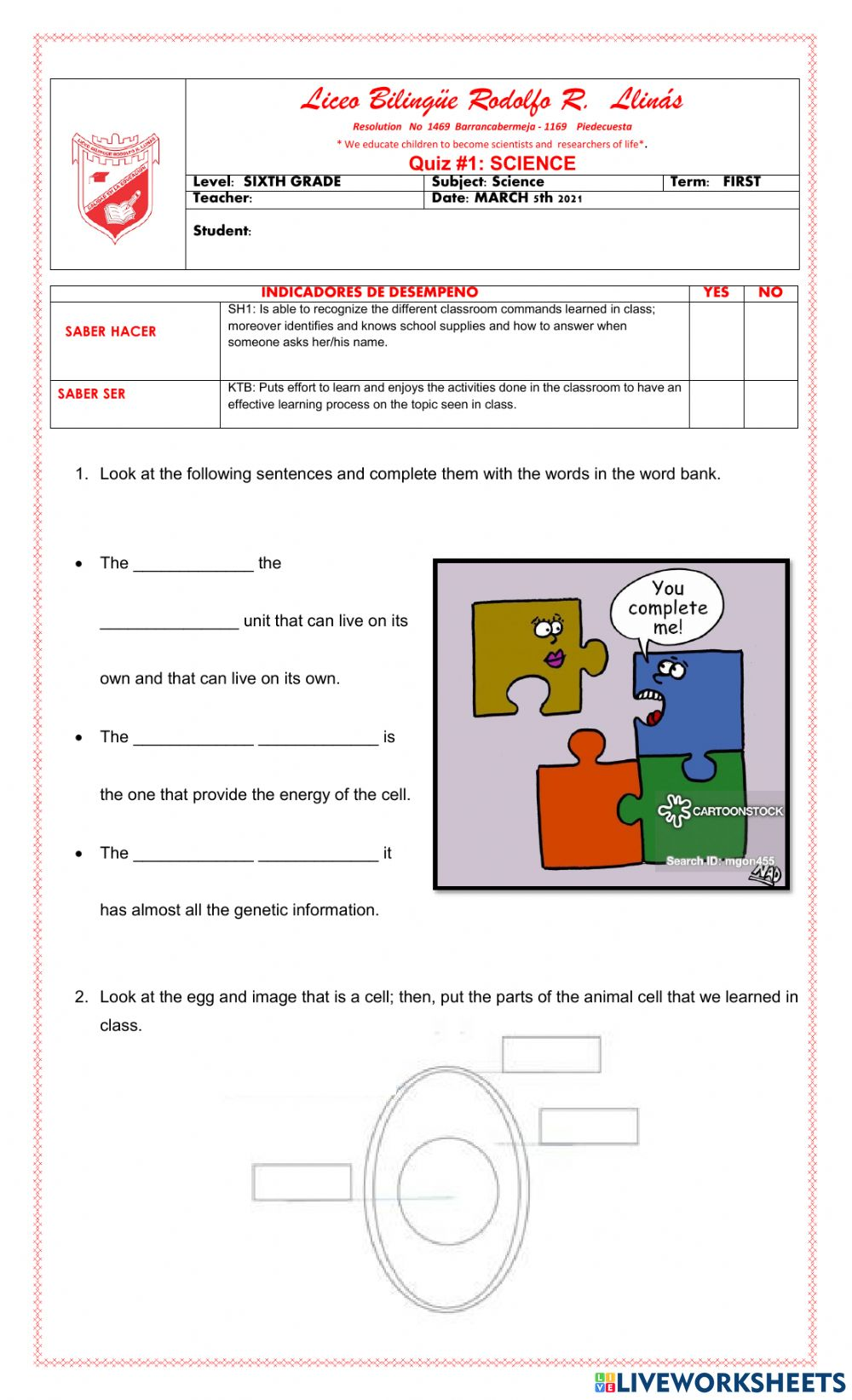 medium resolution of Quiz 1: science 6th grade worksheet