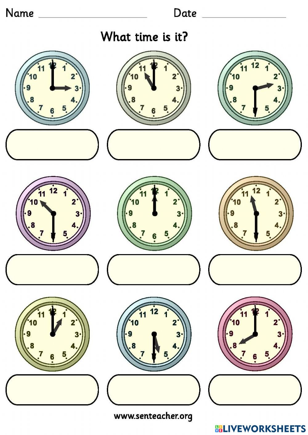 hight resolution of What time is it? online exercise for Grade 2