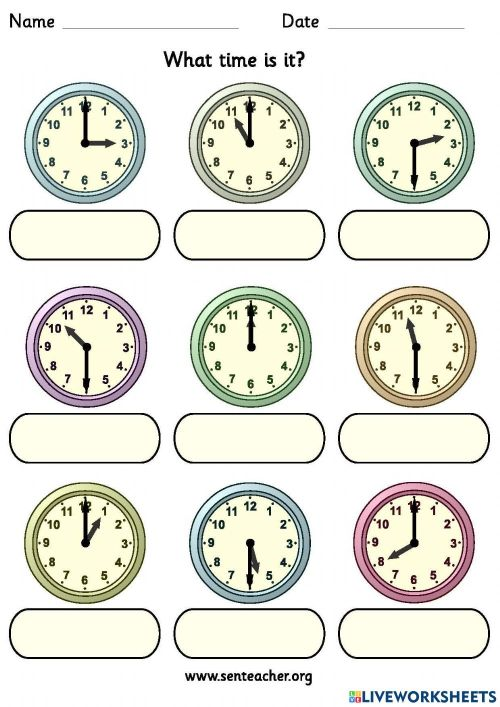 small resolution of What time is it? online exercise for Grade 2