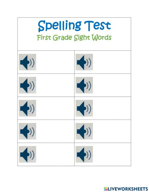 small resolution of Spelling Test First Grade Sight Words Set 9 worksheet