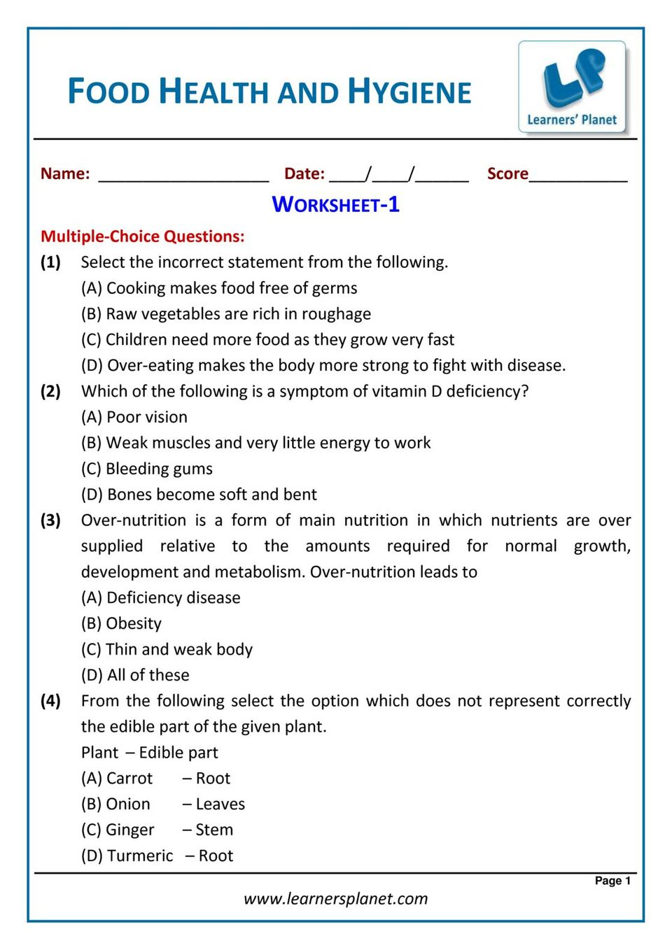 medium resolution of Grade-6-Science-Olympiad: Food Health and Hygiene Magazine