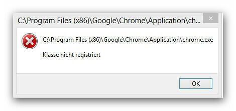 Klasse nicht registriert - Google Chrome
