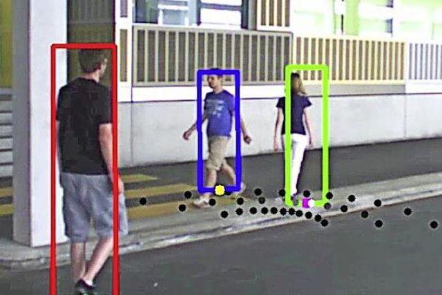 Simulation du fonctionnement du modèle mathématique de suivi des piétons tel que celui mis en œuvre à la gare de Lausanne.