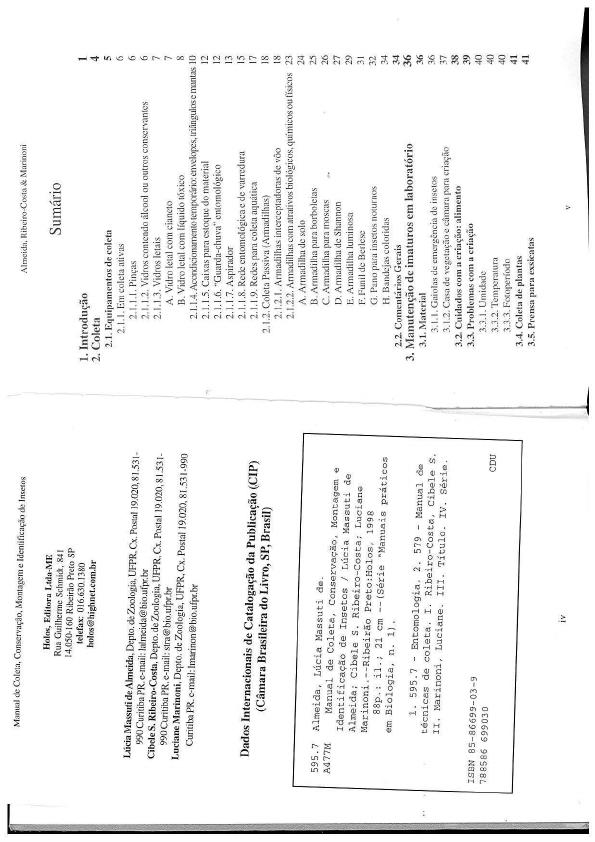 Manual de Coleta, conservação, montagem e identificação de ins