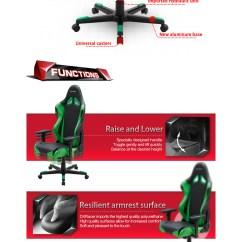 Dxr Racing Gaming Chair Head Dining Room Chairs Dxracer R Series Pc Office/gaming Black & Green [dxr-rf0-gn] : Case Gear