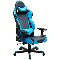 dxracer gaming chairs crate barrel r series pc office/gaming chair black & blue [dxr-rf0-bl] : case gear