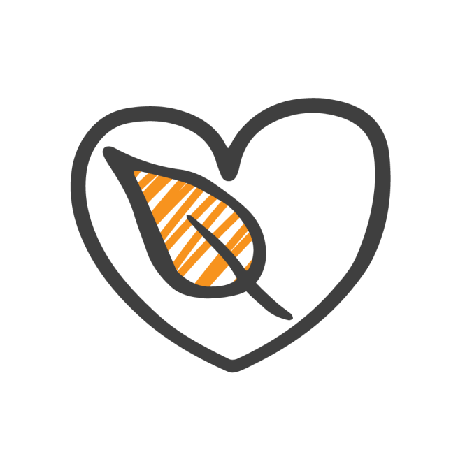 Icones color laranja leaf heart