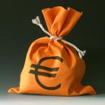 oranje geldzak met euroteken