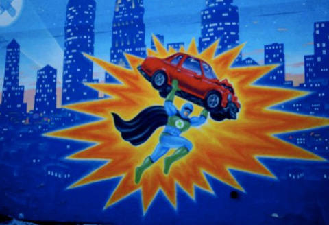 Car lot mural