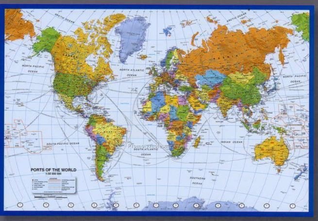 36 x24  World Ports   Shipping Routes Poster With Atlantic Centered 20090752729