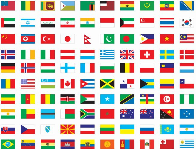 Multi Cultreral Flags of all countries of the world